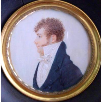 Portrait Miniature. Profil De M, Lautier. Epoque Restauration
