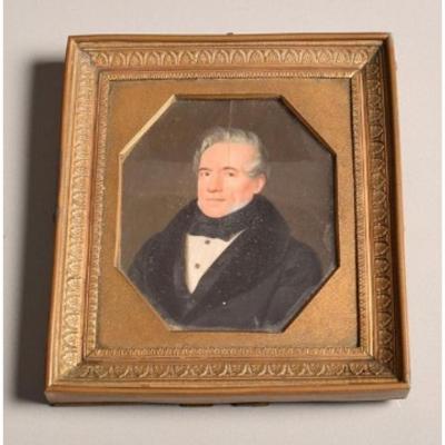 Portrait Miniature d'Homme Aux Cheveux Gris Vers 1840