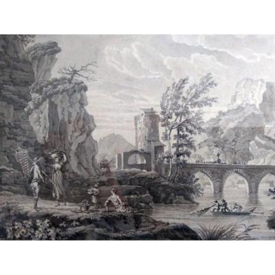 """Ecole Française Du XIX ème. """"paysage Animé"""". Lavis"""