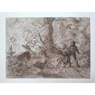 """Dessin Ancien. """"scène Dans La Forêt """". Lavis Et Encre. Monogramé G.m."""
