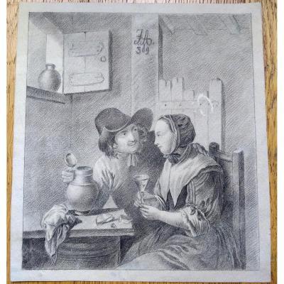 """Dessin Ancien XIXème.""""couple"""". Monogramé. Mine A Plomb"""