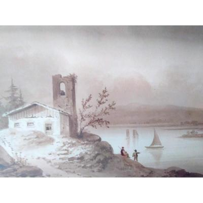 Pernot, F. A. Lot Deux Dessins école Française XIXème.