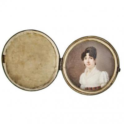 Miniature ècole Française XIXème. Portrait De Femme De Qualité èpoque Empire