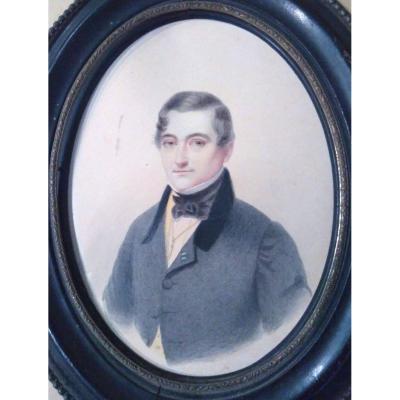 Dessin Ecole Française Du XIX ème. Portrait De Gentilhomme.