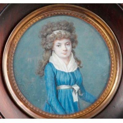 Portrait Miniature école Française Signé