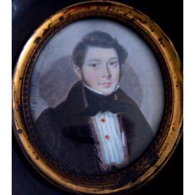 Portrait Miniature Signé Et Daté. Pierre Jean Richard Laschainés (1789-1850?)