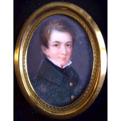 de Labroue, Alphonse (1792-1863) Portrait Miniature jeune homme.