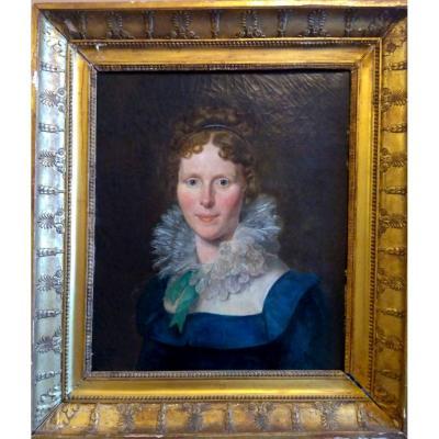 Sicard, Louis - Marie (Sicardi) (1743-1825). Portrait De Femme. Huile Sur Toile