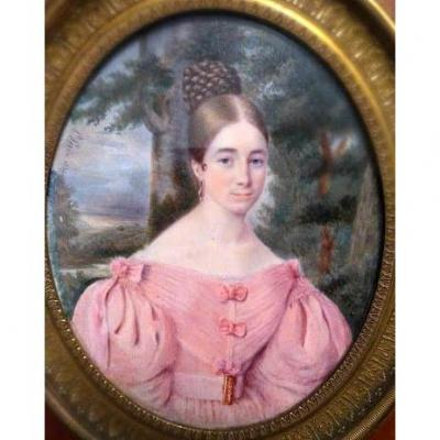 Miniature Portrait Of Quality Lady. French School. Signed