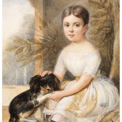 """Portrait de fille et son chien. Signé """"J. Vernet"""" daté 1838"""