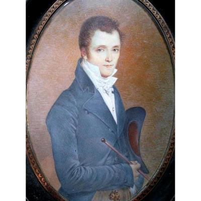 Miniature ècole Française XIXème. Portrait De Jeune élégant à La Canne