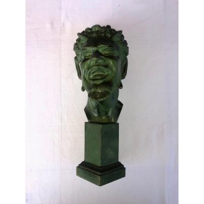 Head Of Faun In Bronze With Green Patina