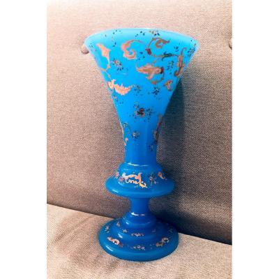 Vase en Opaline Bleu Émaillée
