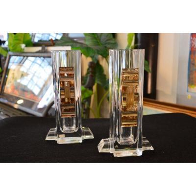 Pair Of Art Deco Glass Vase