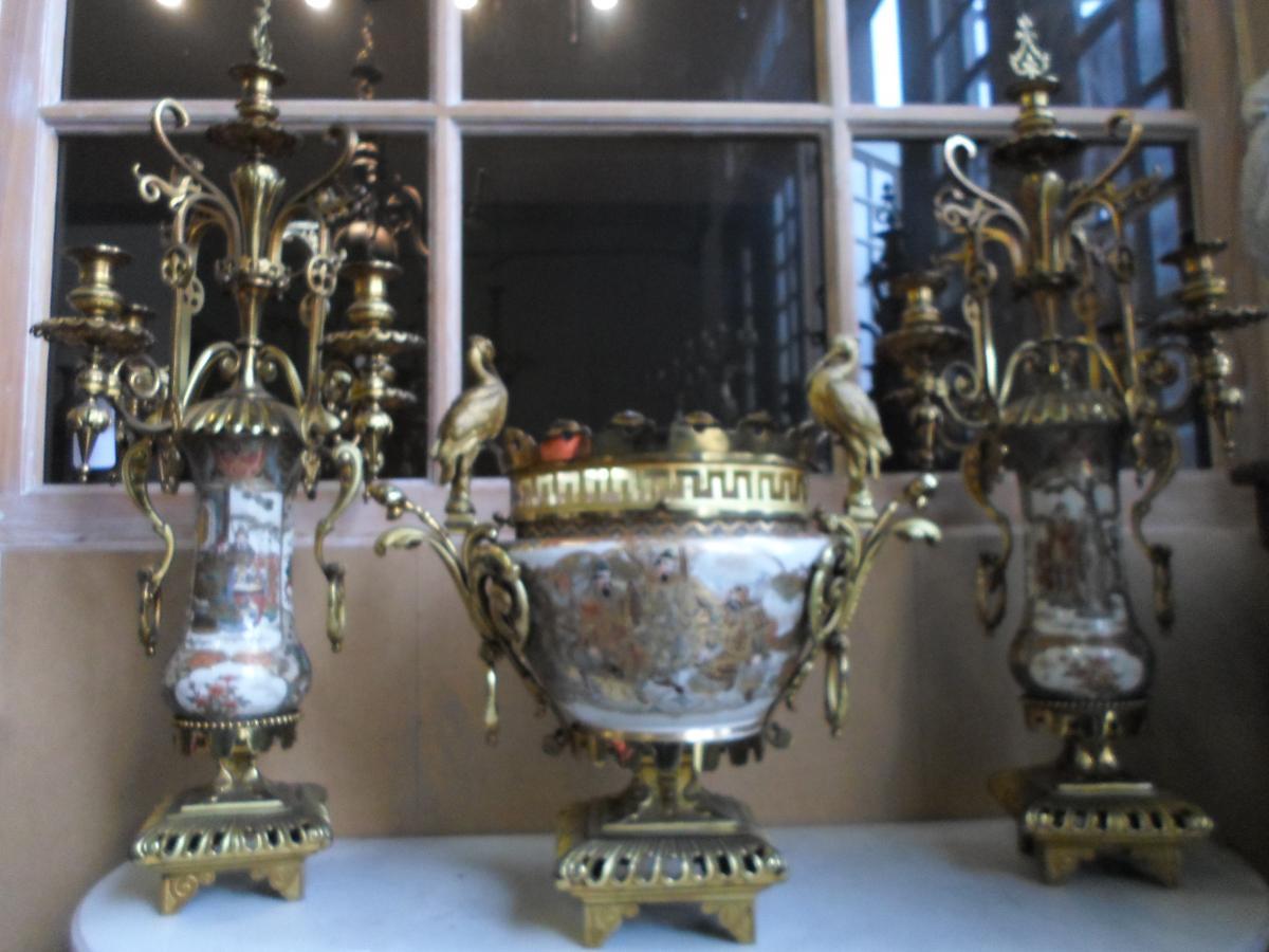 Garniture De Cheminée En Porcelaine De Satsuma