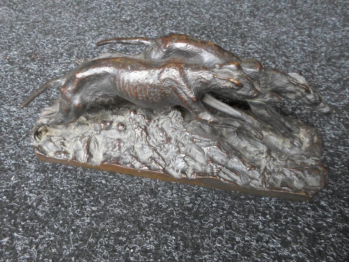 Bronze Animalier De Fratin : Lévriers
