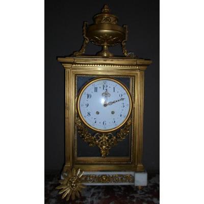 Pendule Cage Louis XVI En Marbre Et Bronze Doré