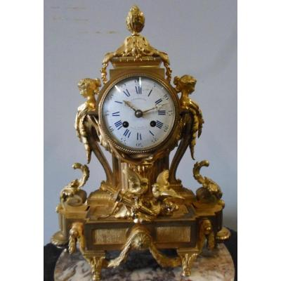Barbedienne : Pendule En Bronze Doré Style Louis XV époque Napoléon III