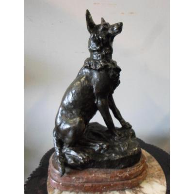 Sculpture Animalière En Bronze : Chien Signé Cartier