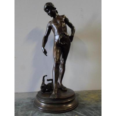 Statue En Bronze Par Steiner : Chat Et Homme Nu