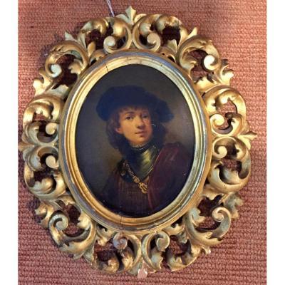 """"""" Portrait Reproduction Rembrant """" Ecole Europeenne XIXeme Siecle"""