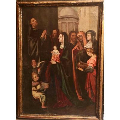 """Table Espagnole XVI eme Siecle """" Presentation de l'Enfant Jesus """""""