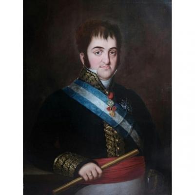 """ Roi Fernando VII d'Espagne "" Portrait Spagnole XVIII eme Siecle"