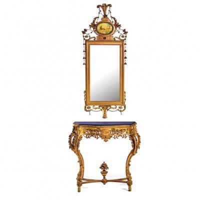 Credence Avec Miroir XVIII Eme Siecle 266cm X 81cm X 42cm