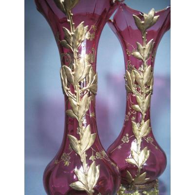 Paire De Vases En Verre Epoque Napoleon III