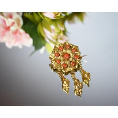 Brooch Gold And Coral 19th