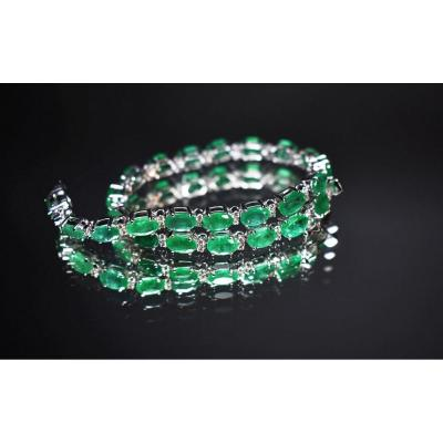 Bracelet Or Emeraudes Et Diamants