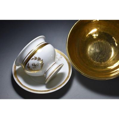 Tasse Et Vase A Biscuit Porcelaine A La Marquise De Sévigné