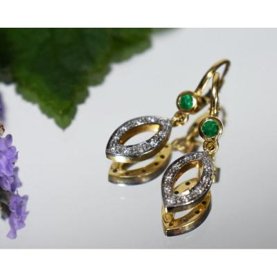 Boucles d'Oreilles  Or Emeraude Diamants