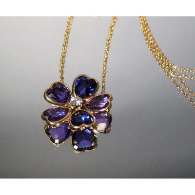 Amethyst Flower Gold Necklace