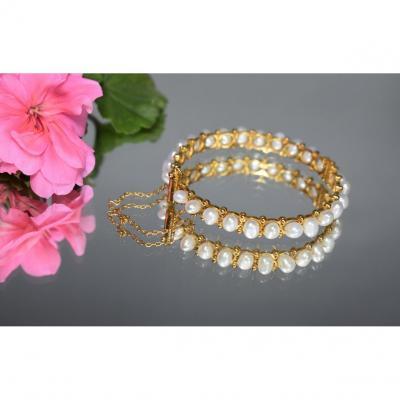 Vintage Rigid Bracelet In Gold And Pearls