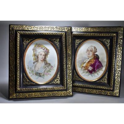 Paire De Plaque En Faience Marie-antoinette Et Louis XVI 19eme