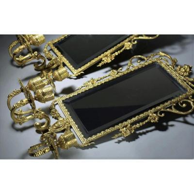 Paire D'applique En Bronze Doré Avec Miroir