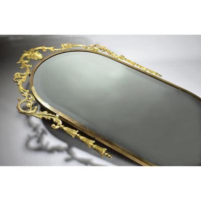 Miroir En Laiton Et Métal Doré