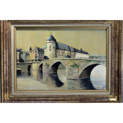 Peinture Laval Le Vieux Pont. Lucien Ferriot