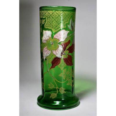 Enamelled Glass Vase, Legras-montjoye Saint-denis, 1900