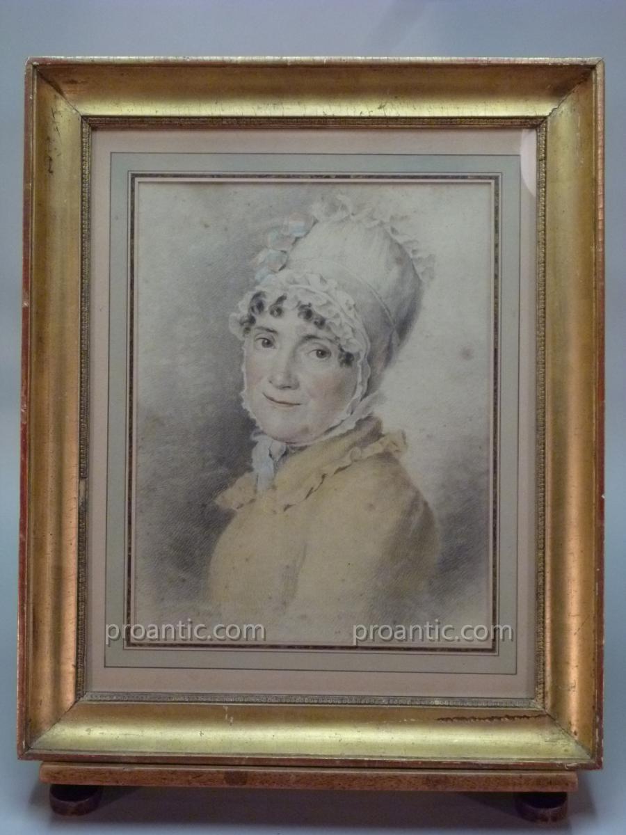 Dessin, Portrait De Femme Au Bonnet Et Ruban Bleu Blanc Rouge, Début Du XIXème Siècle.