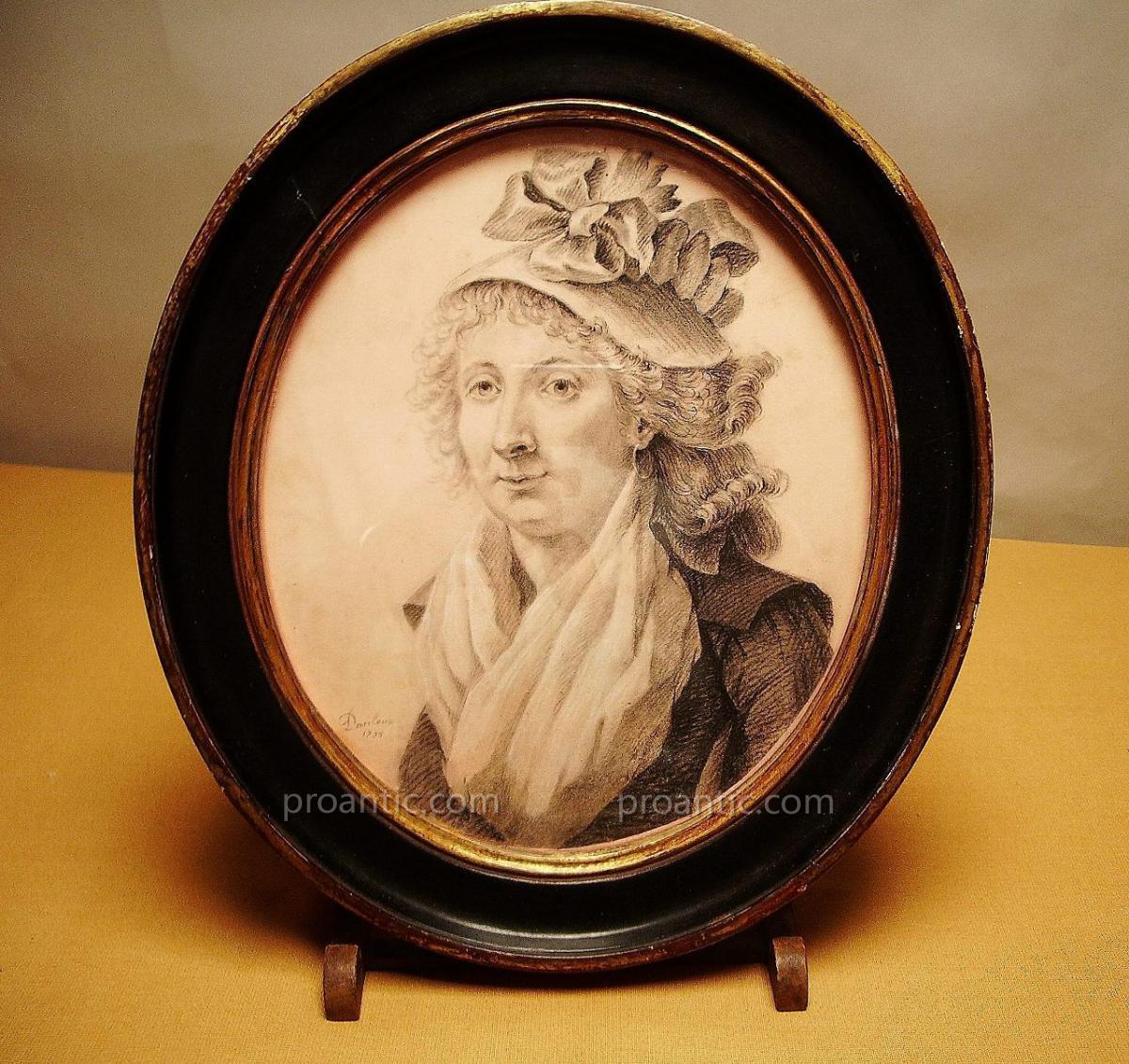 Portrait Signé Danloux, 1795, Dessin.