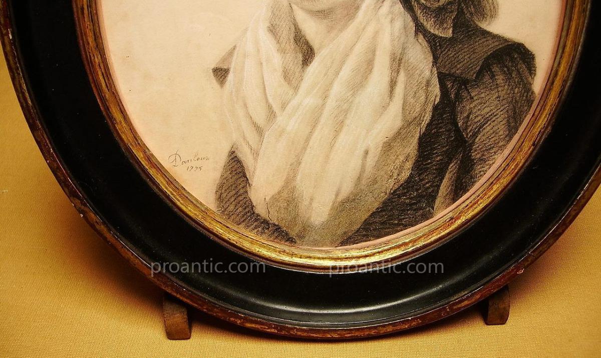 Portrait Signé Danloux, 1795, Dessin.-photo-2