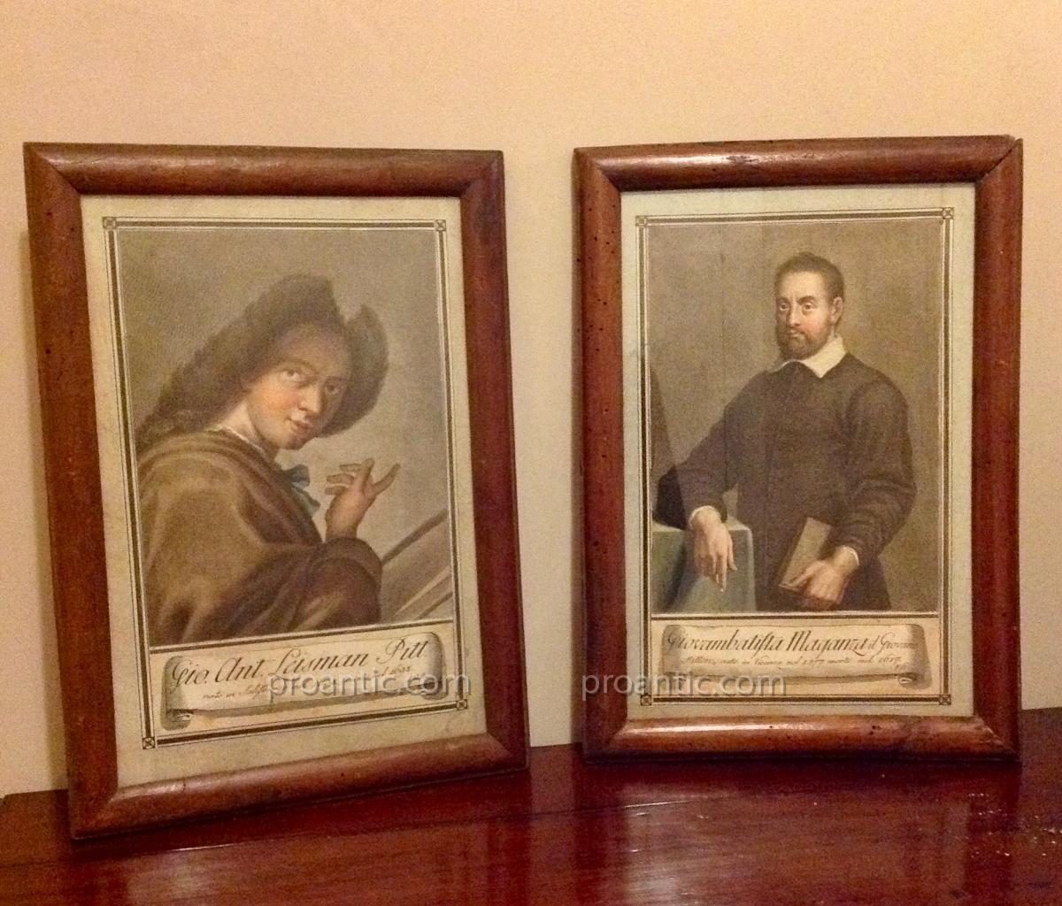 Deux Gravures, Portraits d'Artistes, C. Lasinio, Fin 18ème.