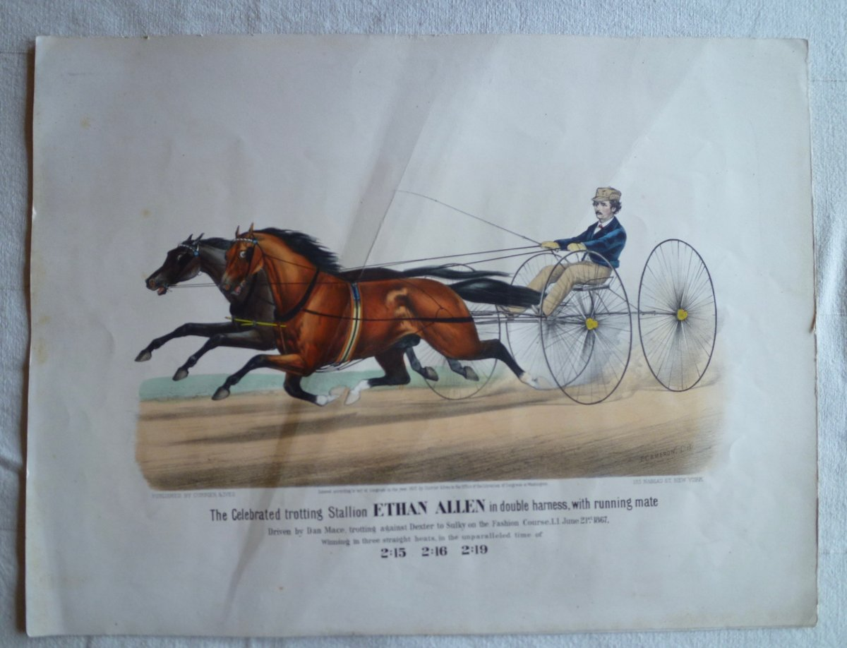 Currier And Ives, Equestrian Lithograph, Ethan Allen, 19th.