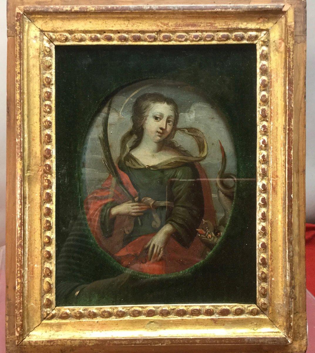 Sainte Marguerite, Huile Sur Cuivre, 17ème.