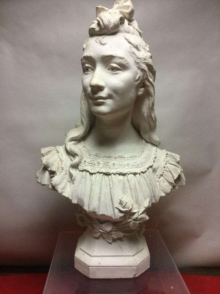 Augustin Fumadelles, Buste En Plâtre, 19ème Siècle.