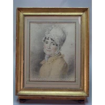 Drawing, Portrait Of Woman In Bonnet And Ruban Bleu Blanc Rouge, Beginning Of XIX Century.