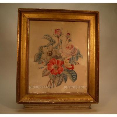 Aquarelle De Fleurs Sur Vélin, 19ème.