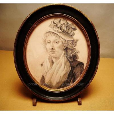 Portrait Signed Danloux, 1795, Drawing.